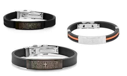 Men's Rubber and Stainless Steel Prayer Bracelets