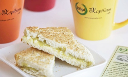 $25 for Five Groupons, Each Good for $10 Worth of Coffee and Asian Snacks at Kopitiam Cafe ($50 Value)