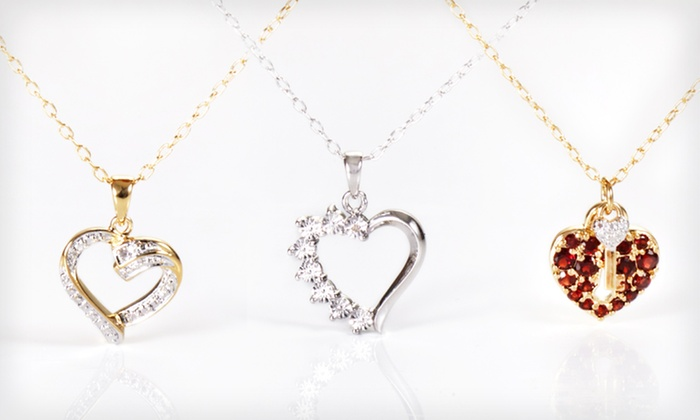 18-Karat Gold-Plated Bronze Necklaces: 18-Karat Gold-Plated Bronze Necklace with Diamond Accent Pendant (Up to 70% Off). 7 Styles Available. Free Returns.