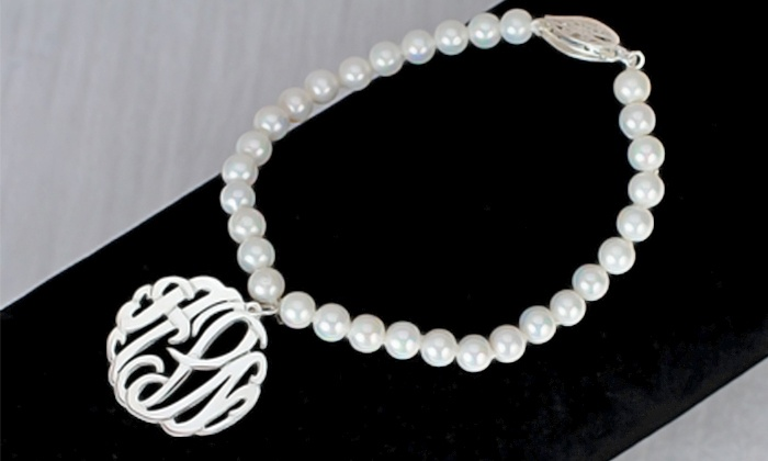 Monogram Hub: $25 for a Freshwater-Pearl Bracelet with Monogram Pendant from Monogramhub.com ($120 Value)