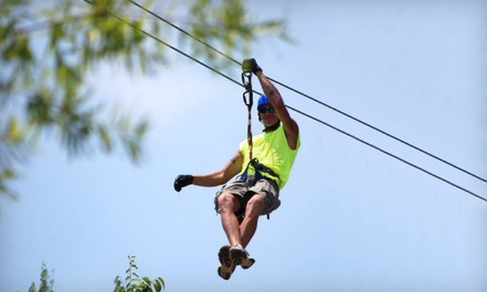 Adventure Ziplines of Branson and Sky Surfer - Multiple Locations: Zipline Canopy Tour, Motorized Sky Surfer Ride, or Both at Moto-Zip of Branson (Up to 55% Off)