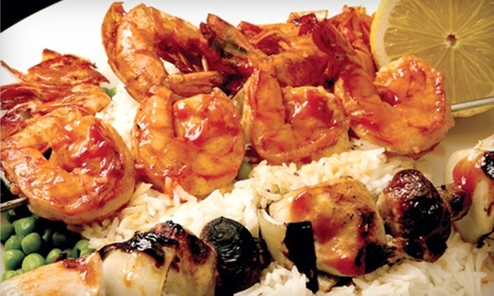 Ayhan's Shish-Kebab Mediterranean Restaurants - Multiple Locations: $35 for Appetizer, Two Entrees, and Two Glasses of House Wine at Ayhan's Shish-Kebab Mediterranean Restaurants (Up to $74.85 Value)