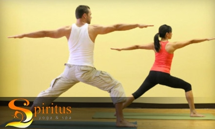 Spiritus Yoga & Spa - Downtown Riverside: $44 for 10 Fitness Classes or a 50-Minute Therapeutic Massage at Spiritus Yoga & Spa in Riverside (Up to $140 Value). Choose Between Two Options.
