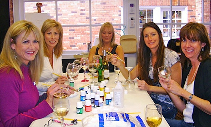 Art Classes By Jen - Montgomery: BYOB Wineglass-Painting Classes for Two or Four at Art Classes By Jen in Montgomery (Half Off)