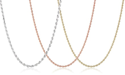 18K Gold-Plated or Sterling Silver Rope Chains