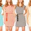 Women's Chevron Dress with Belt in Plus Sizes