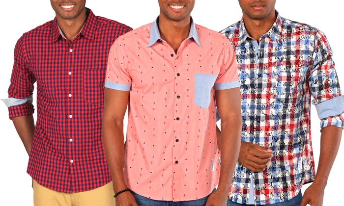 Men's Casual Button Down Shirts | Groupon Goods