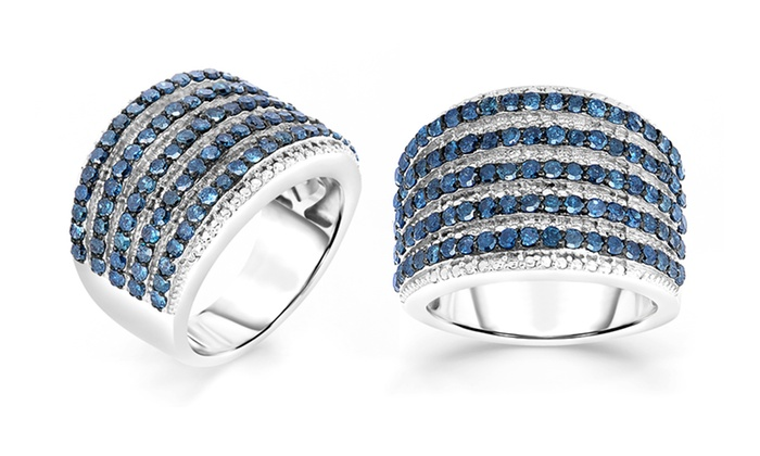 2.00 Ct.T.W. Blue Diamond Ring: 2.00 Ct.T.W. Blue Diamond Ring. Multiple Sizes Available. Free Returns.