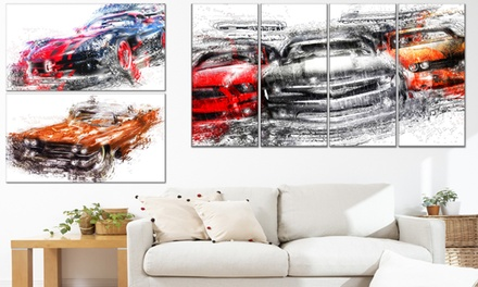 Single or Multipanel Canvas Prints of American Classic Cars and Supercars from $49.99-$89.99