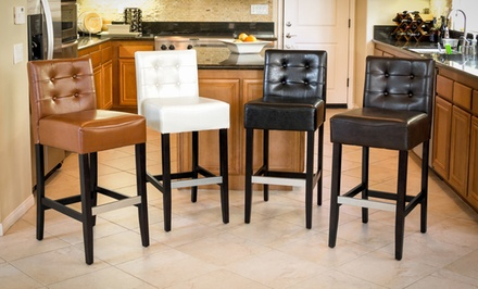 Set of 2 Tufted Bonded-Leather Counter- or Barstools