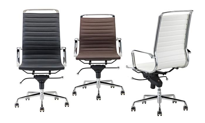 Bureau Stoel Leer.Leren Bureaustoel In 3 Kleuren Groupon Goods