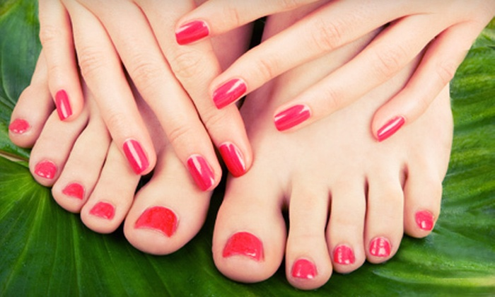 Bamboo Salon & Spa Cinci - Newtown: Shellac Manicure with Optional Pedicure, or Three Shellac Manicures at Bamboo Salon & Spa Cinci (Half Off)