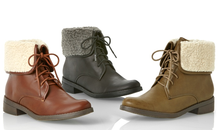 Olive Street Women's Fold Over Combat Boots (Size 6)   Groupon