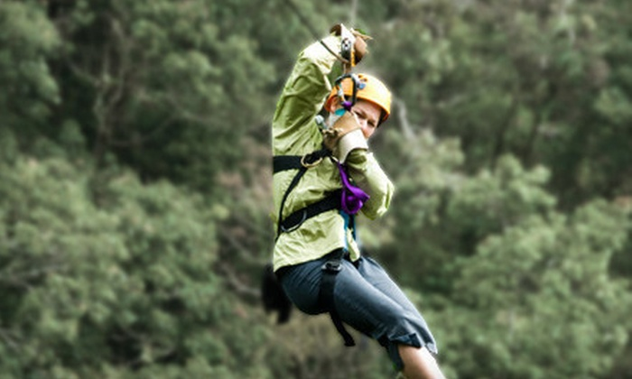 Don Strange Ranch Adventure Challenge Course - Boerne: Zipline Ride and Alpine Tower Climb with Lunch at Don Strange Ranch Adventure Challenge Course in Boerne (53% Off)