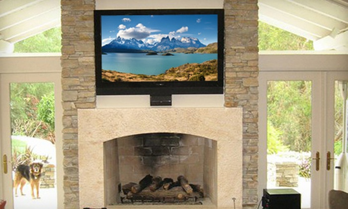Man Caves Audio Video - Medina: Flat-Screen-Television Mounted Installation from Man Caves Audio Video (Up to 67% Off). Two Options Available.