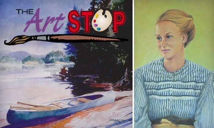 The Art Stop - Webster: $15 for a Glass-Painting Workshop Plus Wine and Munchies at The Art Stop in Webster ($30 Value)