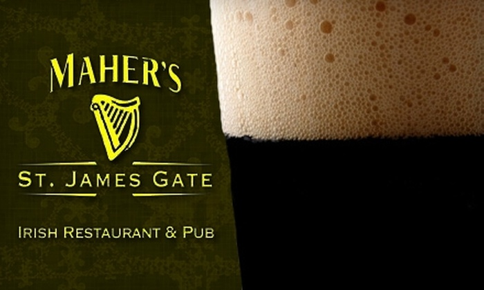 Maher's Irish Restaurant & Pub - Portland: $10 for $20 Worth of Drinks and Irish Fare at Maher's Irish Restaurant & Pub in Lake Oswego