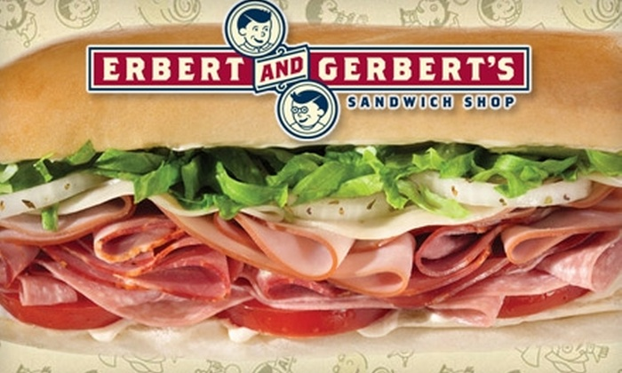 Erbert and Gerbert's Sandwich Shop - Multiple Locations: $5 for $10 Worth of Sandwiches, Soups, and More at Erbert & Gerbert's Sandwich Shop
