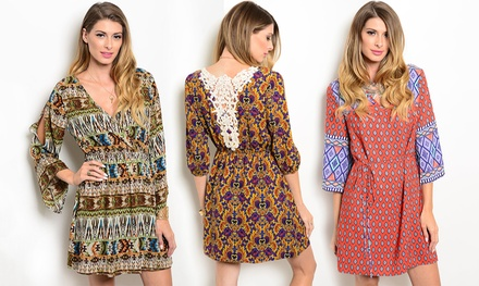 Women's Print V-Neck Dresses