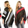 Colorblock Striped Women's Poncho with Knit-Fringe Trim