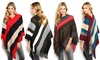 Colorblock Striped Women's Poncho with Knit-Fringe Trim: Colorblock Striped Women's Poncho with Knit-Fringe Trim