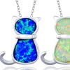Created Opal Cat Necklace in Sterling Silver