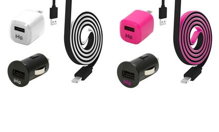 iHip Three-Piece Apple-Certified Lightning Home and Car Charging Set