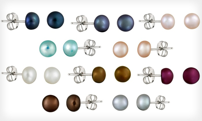 10 Pairs of Freshwater-Pearl Earrings: $19 for 10 Pairs of Multicolour Freshwater-Pearl Stud Earrings ($99.99 List Price)