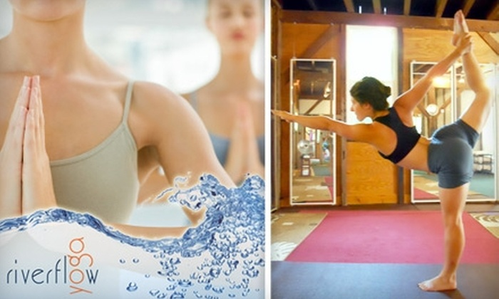 Riverflow Yoga - Multiple Locations: $30 for Three Hot Yoga Classes and a 15-Minute Migun Massage at Riverflow Yoga in Point Pleasant or Lambertville ($69 Value)