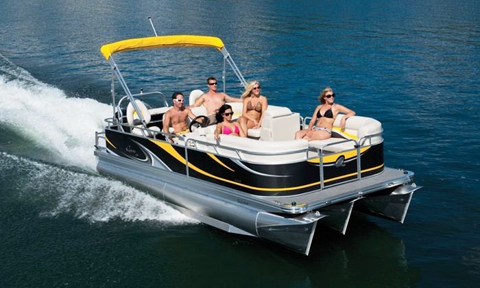 Corporate Tailgate Boat Rental - Goose Island: Pontoon-Boat Rental for Up to 8 or 12 from Corporate Tailgate Boat Rental (Up to 70% Off). Six Options Available.