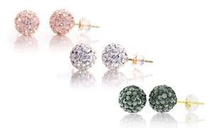 14k Gold Swarovski Elements Crystal Stud Earrings. Multiple Colors Available. Free Returns.