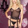 Body Stocking with Built-in Garters and Matching Thong