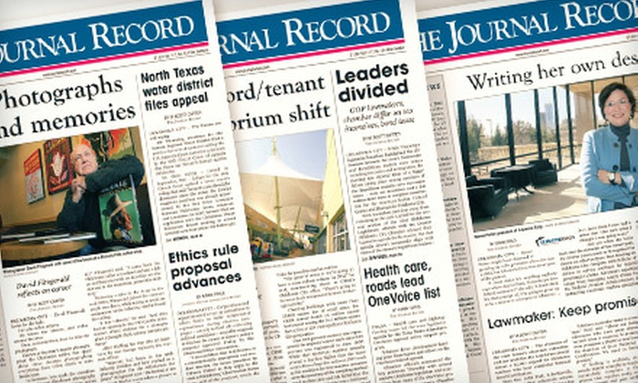"""The Journal Record: $39 for a Six-Month Print and Online Subscription to """"The Journal Record"""" ($94.50 Value)"""