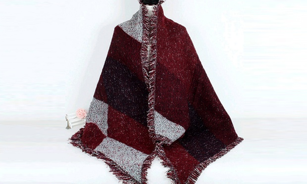 Echarpe style poncho carreaux   Groupon Shopping 44fa66a363a