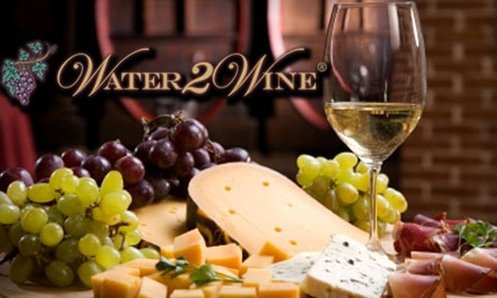 Water 2 Wine - Multiple Locations: $30 for Wine Tasting and Food Pairing Class for Two, Plus Two Wine Glasses and a Bottle of Wine at Water 2 Wine (Up to $76.85 Value)