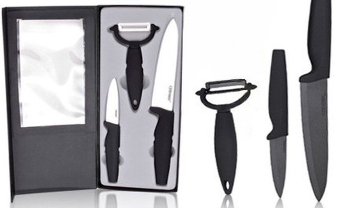 XL100store.ca: Ceramix Knife Gift Set in White or Black Onyx from XL100store.ca (52% Off)