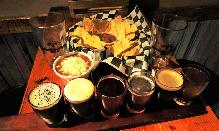 Constantine Brewing Company - Constantine: Beer Flights, Snack, and Souvenir Pint Glasses for Two or Four at Constantine Brewing Company (Up to 51% Off)