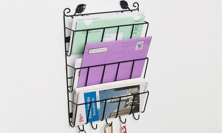 Evelots 3-Tier Decorative Leaf Letter Organizer with Key Holders