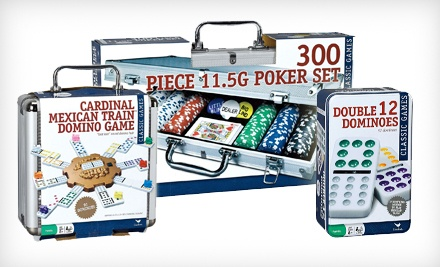 Cardinal 12 Dominoes, Mexican Train Dominoes, or a Poker Set with Cards and Dice from $4.99- $8.99.