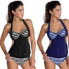 Women's Striped Halter Swim Tankini