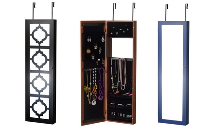 Wall hang or over the door jewelry armoire groupon - Miroir armoire bijoux ...