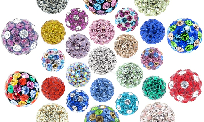 3 Pairs Of Swarovski Elements Crystal Ball Stud Earrings In 14k Gold