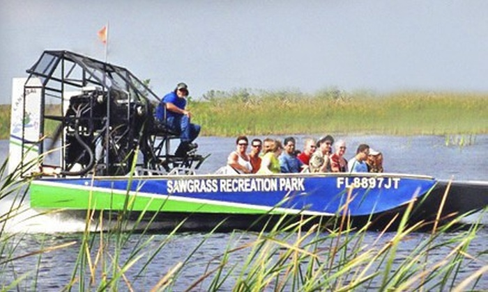 Sawgrass Recreation Park - Conservation: Airboat Tour and Exhibit Pass for Two or a Gator Tour for Two from Sawgrass Recreation Park in Weston (Up to 51% Off)