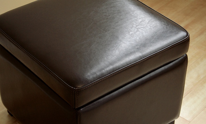 Bonded Leather Storage Ottomans Groupon Goods