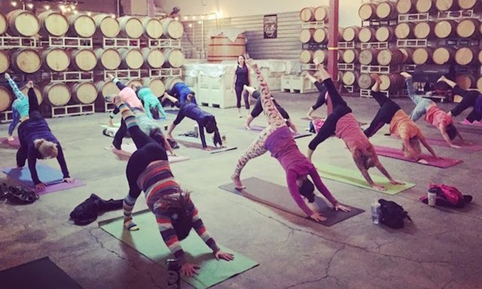 Mettamade - Pop Up Events: Vino Vinyasa Yoga and Wine-Tasting Experience for One or Two from Mettamade (Up to 50% Off)