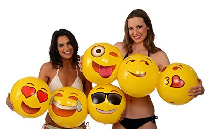 Six Inflatable Emoji Beach Balls for AED 49 (76% Off)
