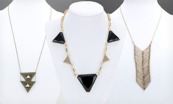 Bijou Drive Geometric Jewelry: $13.99 for a Bijou Drive Geometric Necklace or Pair of Earrings ($56 List Price). 12 Options Available. Free Returns.