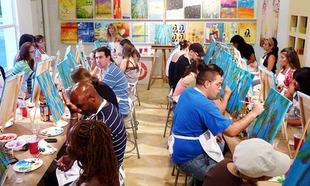 2.5-Hour BYOB Painting Class for One or Four at The Fun Palette or One Ceramic Piece to Paint (Up to 50% Off)