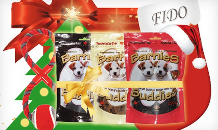 Barnies Horse and Pet - Ajax: $20 for a Holiday Gift Basket with Gourmet Dog Treats, a Chew Toy, and Stocking from Barnies Horse and Pet ($40 Value)