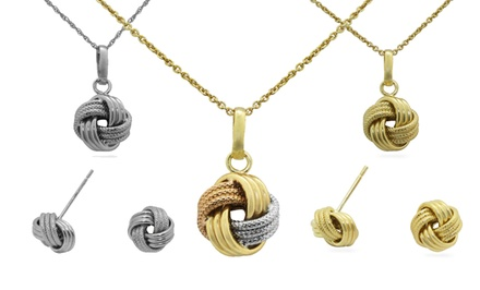 Love-Knot Earrings, Pendant, or Earrings-and-Pendant Set in Silver, Gold, or Rose-Gold Tones or Tricolor. Free Returns.
